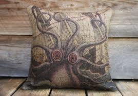 octopus pillow throw pillow nautical cushion beach decor