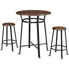 3 piece pub set round table 2 stools metal wood top kitchen dining bar furniture
