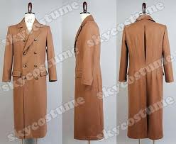 mens long wool trench coat doctor who brown jacket suit cosplay costume from winter mens long wool trench coat