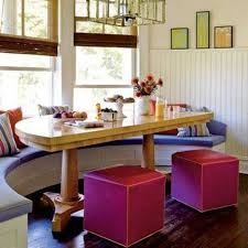 image breakfast nook september decorating. Colorful Breakfast Nook Decorating Ideas With Half Curved Table And Fuchsia Benches Purple Window Seat Image September O