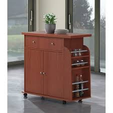 Hodedah Modern Mobile Kitchen Island with Spice Rack and Towel Rack