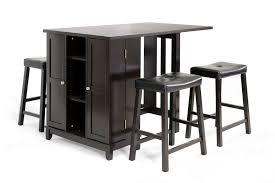 baxton studio aurora 5pc dark brown pub table set w cabinet base inside bar stool remodel 14