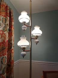 vintage tension pole floor lamp 3 way white milk glass hobnail shades milkglass