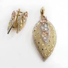 18kt gold designer italian pendant set