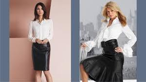 leather skirt white blouse