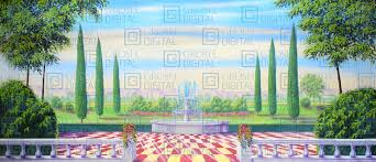 Garden With Checkered Floor Projected Backdrop For Alice In Wonderland Gardens