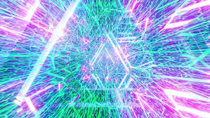 Glowing neon lines abstract tunnel 3d ...