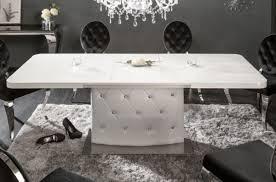 Casa Padrino Esstisch Weiß Silber 160 200 X 90 X H 76 Cm Moderner Ausziehbarer Küchentisch Mit Kunstleder Und Strasssteinen Esszimmer Möbel
