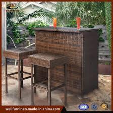 3pc wicker bar set patio outdoor backyard table 2 stools rattan garden furniture