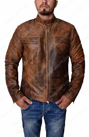 brown distressed mens leather jacket