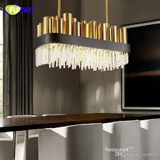 fumat post modern restaurant crystal lamp rectangle simple stainless steel bronze villa luxury led modern crystal pendant light fumat modern light for