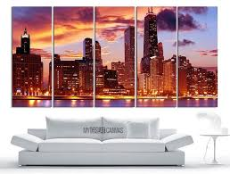 large wall art canvas print chicago city night skyline canvas new york landscape large art print