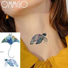 Ommgo акварельное тату стикер черепаха скат морские временные