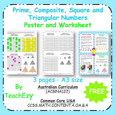 Maths Posters & worksheets - Prime Composite Square and Triangular ...