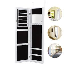 HERRON Jewelry Armoire With Mirror Door Or Wall Mounted Cabinet  Organizer For WomenWhite Wall Mounted Jewelry Cabinet81