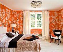 orange wallpaper pattern for bedroom with brown bedding