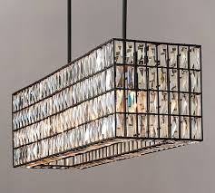 best rectangular hanging light fixtures adeline crystal rectangular chandelier pottery barn