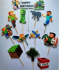 Jual Cake Topper Minecraft Theme Hiasan Kue Ulang Tahun