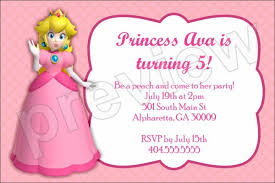 Birthday Party Invitation Princess Peach Birthday Party Invitation Super Mario Personalized