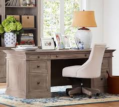 Home Office Desk 2 Person Pottery Barn Livingston Executive Desk Home Office Desks Computer Desks Writing