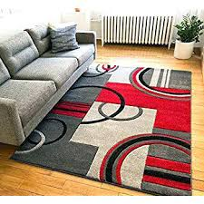 red and gray area rug grey rugs com echo shapes circles red grey modern geometric