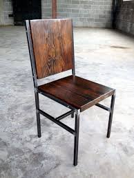 wood and iron furniture. chair stool made of reclaimed wood and steel with iron pins furniture n