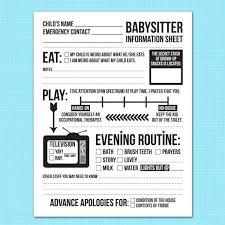 Babysitter Information Sheets Instant Downloadable Babysitter Information Sheet Mommy 101