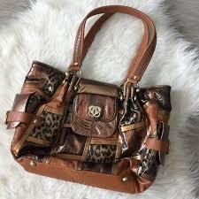 details about sharif handbags leather animal print patchwork purse shoulder bag