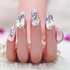 2015 Pink Flowers Bridal Manicure 3d Full Cover False Nail Flower ...