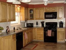 kitchen color ideas with oak cabinets and black appliances. Kitchen Tile With Oak Cabinets Medium What Flooring White And Stainless Steel Appliances Grey Walls Dark Color Ideas Black S