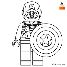Coloring Page For Kids How To Draw Lego Captain America Crafting