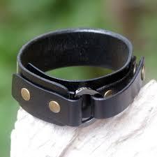 men s studded leather wristband bracelet bold black