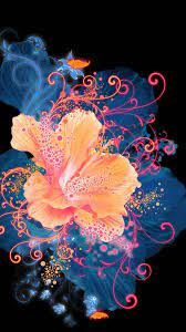Neon Galaxy Flower Wallpaper