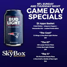 Bud Light Pitcher Bud Light Nfl Game Day Specials 2018 Skybox Restaurant