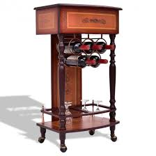 Rolling Vintage Wood Wine Cabinet Bar Stand Wine & Liquor