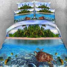 green blue and brown tropical hawaiian style island and sea turtle print ocean themed twin full queen king size bedding sets