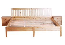 queen wood platform bed frame with ladder headboard and bedside cabinets smart queen wood bed