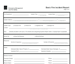 Fire Incident Report Template Format Department Form Gallery Te