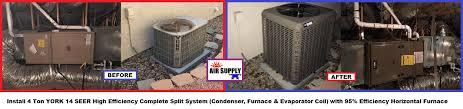 york split system. chasma 4 ton york split 95% horizontal furnace - with words york system