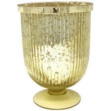 large mercury glass fluted hurricane candle holder gold