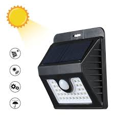 30 leds solar power wall light pir motion sensor light s black tomtop