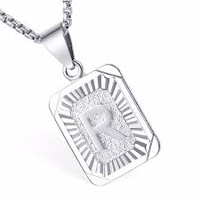 details about womens mens chain initial letter a z pendant necklace gold filled box hip hop