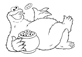 Cookie Monster Coloring Pages Eating Cookie Coloringstar