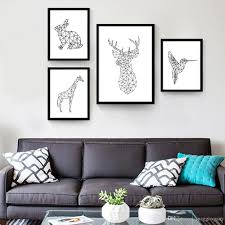 Geometric Deer Giraffe Rabbit Flying Woodpecker Posters And Prints