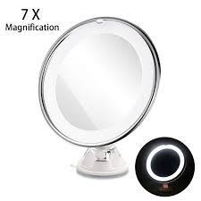 lighted travel mirror. ruimio adjustable 7x magnification lighted led makeup mirror travel (white) t