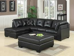 coaster furniture darie black faux leather sectional with ottoman the classy home