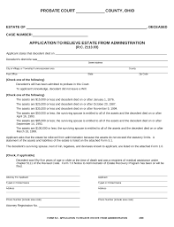 Affidavit Form In Pdf Free Ohio Small Estate Affidavit Form Application To Relieve 24