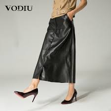vodiu long maxi skirt leather skirt black skirts womens high quality ankle length european style