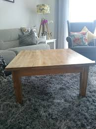 large square solid oak coffee table