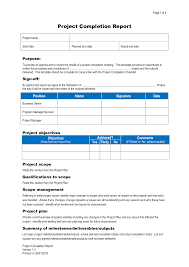 Project Completion Report 24 Images of Job Completion Report Template tonibest 1